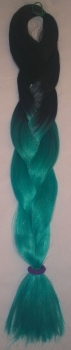 black & teal braided hair 2-colored ombre braids