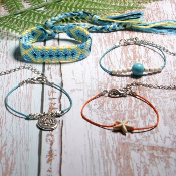 Set of 4 anklets in ethnic look handmade turquoise / yellow