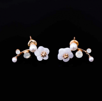 Earrings in Korean style with golden branch and pearl