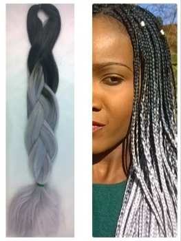 Braids black grey silvergrey