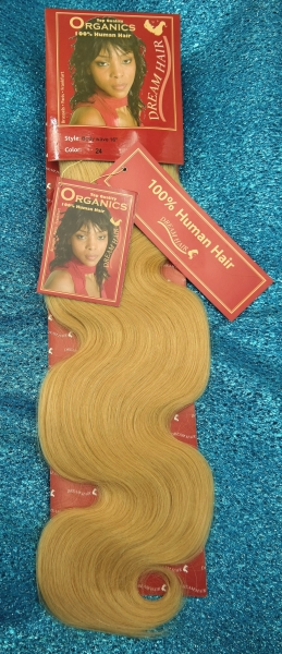 Echthaar Tressen in #24 Honig BLOND 40 cm Body Wave 100% Organics Echthaar